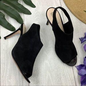 Cole Haan Nene Black Suede Slingback Sandal Heels